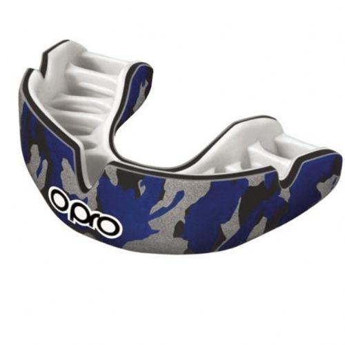 Opro Power-Fit Camo Mouthguard - Black/Blue/Silver